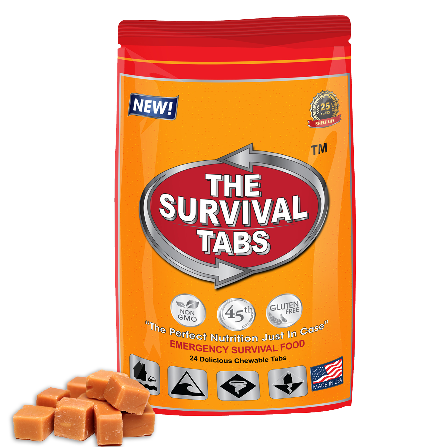 Survival Tabs 2-Days Survival Food Supply Survival food, emergency food , emergency meals ready to eat, Butterscotch-Gluten Free And Non-Gmo