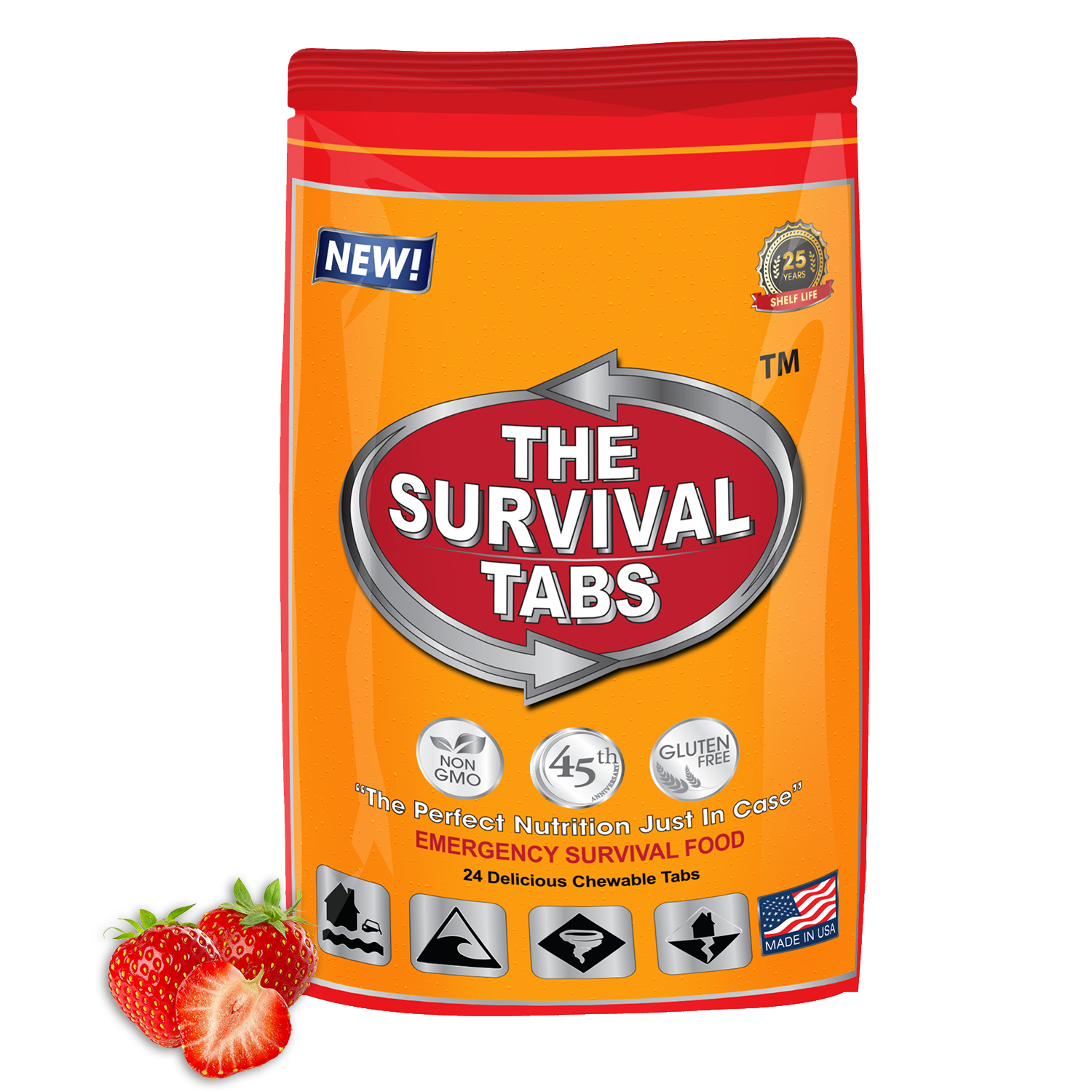 Survival Tabs 2-Days Survival Food Supply Strawberry-Gluten Free And Non-Gmo Survival food, emergency food , emergency meals ready to eat,