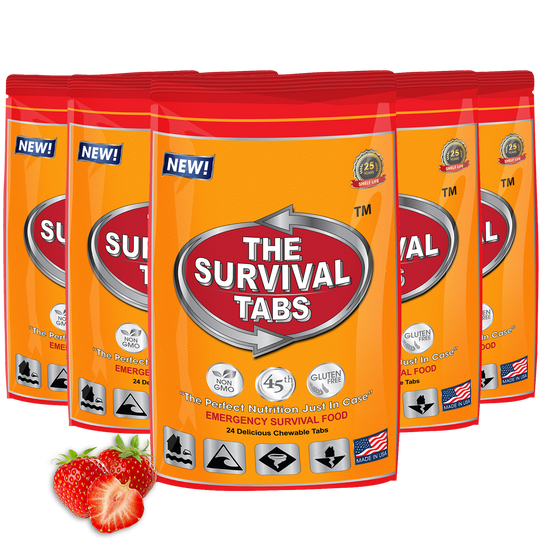 Survival Tabs - 10 Days Food Supply - Strawberry Gluten Free and Non-GMO Survival food