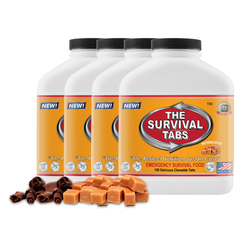 Survival Tabs 60-Day Food Supply - Chocolate and Butterscotch Flavor - Food Dehydrator Gluten Free and Non-GMO
