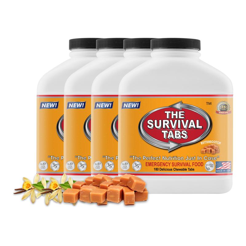 Survival Tabs 60-Day Food Supply - Vanilla Malt and Butterscotch Flavor - Gluten Free and Non-GMO