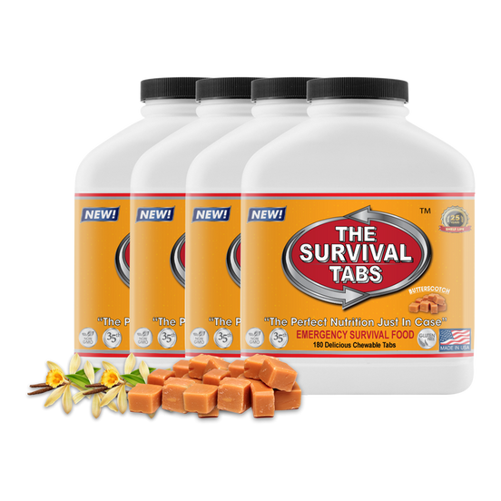 Survival Tabs 60-Day Food Supply - Vanilla Malt and Butterscotch Flavor - Survival Food Gluten Free and Non-GMO
