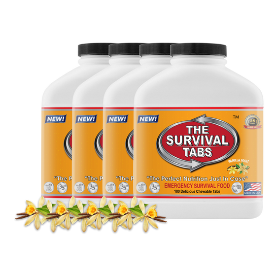 Survival Tabs 60-Day Food Supply - Vanilla Malt - Survival Food Gluten Free and Non-GMO Survival food, emergency food , emergency meals ready to eat