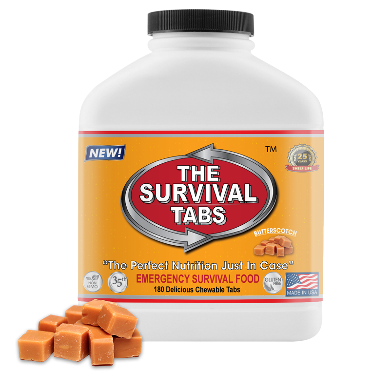 Survival Tabs - 15-Day Food Supply - Butterscotch - Gluten Free and Non-GMO