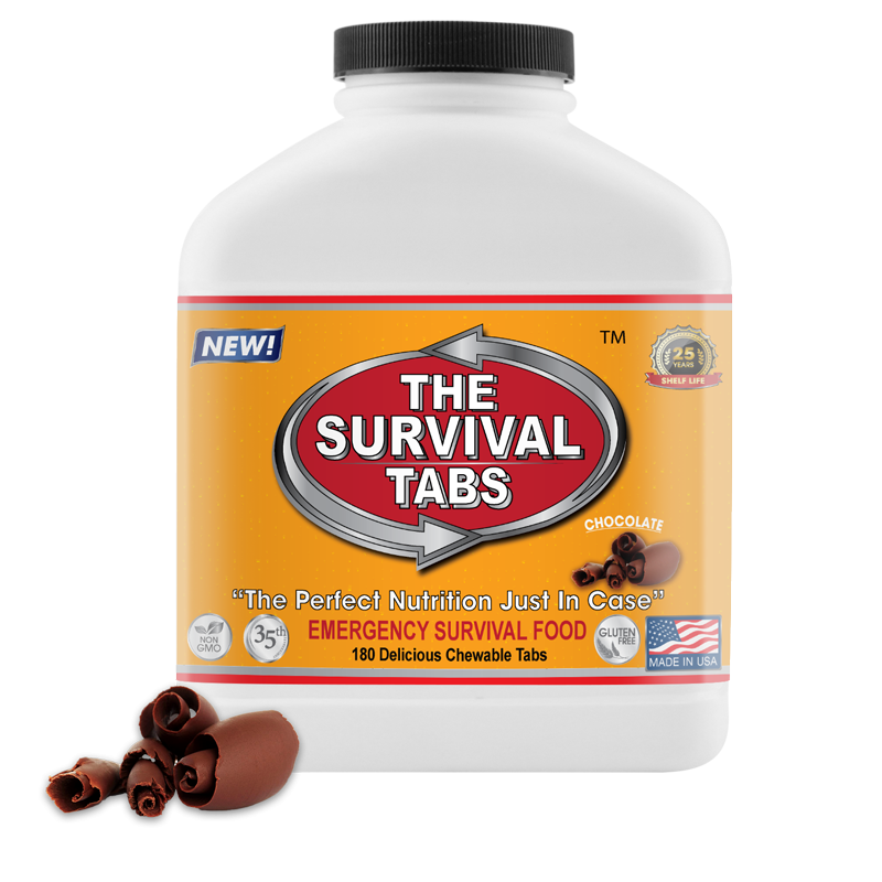 Survival Tabs - 15-Day Food Supply - Chocolate - Gluten Free and Non-GMO emergency preparedness food