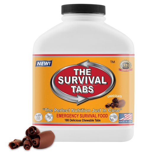 Survival Tabs - 15-Day Food Supply - Chocolate - Survival Food Gluten Free and Non-GMO wise food