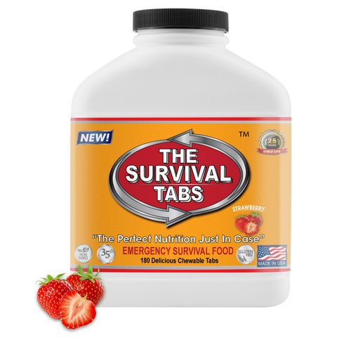 Survival Tabs - 15-Day Food Supply - Strawberry - Gluten Free and Non-GMO Survival food, emergency food , emergency meals ready to eat,