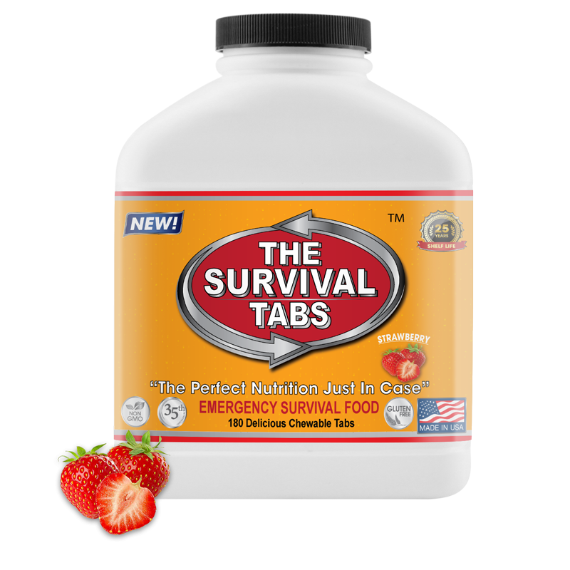 Survival Tabs - 15-Day Food Supply - Strawberry - Emergency Meals Ready To Eat Gluten Free and Non-GMO long term food supply