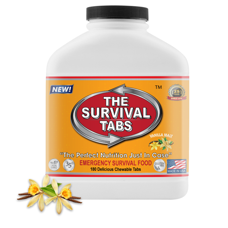 Survival Tabs - 15-Day Food Supply - Vanilla Malt - Gluten Free and Non-GMO Survival food, emergency food , emergency meals ready to eat,