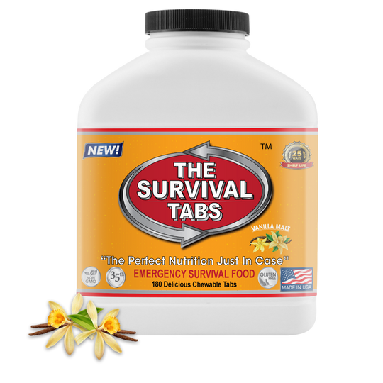 Survival Tabs - 15-Day Food Supply - Vanilla Malt - Gluten Free and Non-GMO