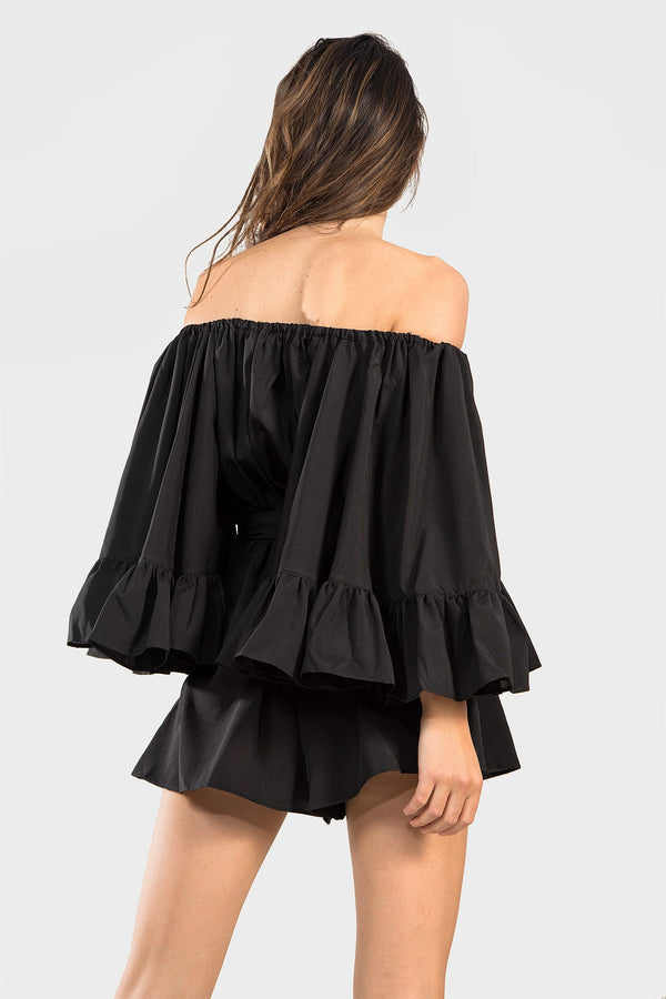 Flow My Way Black Playsuit