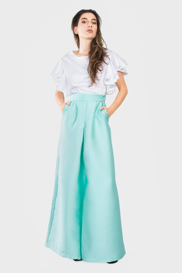 Nile Green Wide Leg Pants