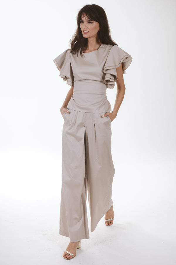 Wide Leg Pants (beige)