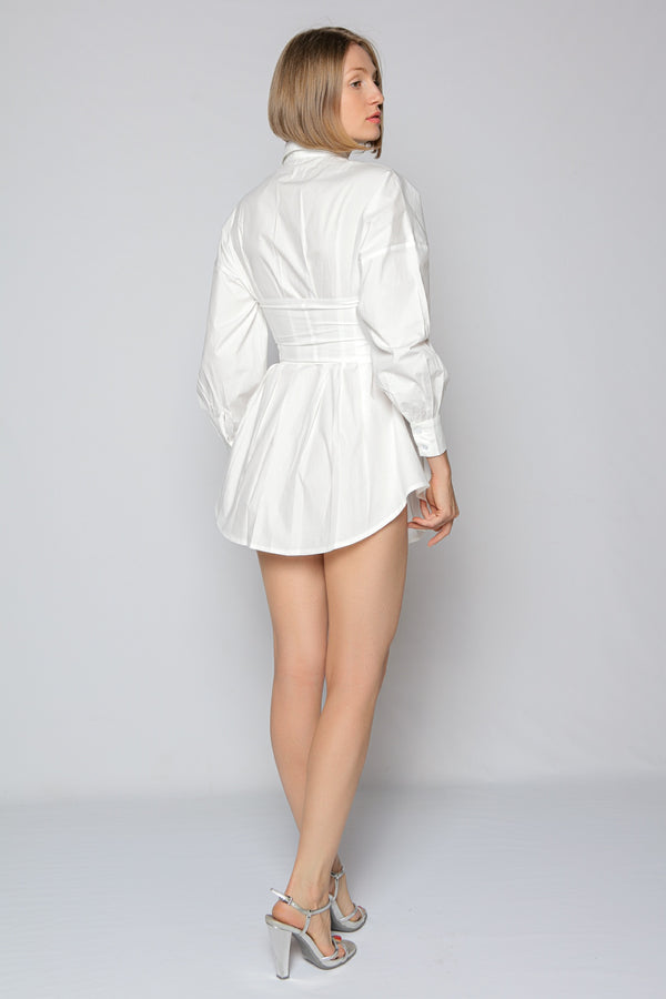 White Corset Shirt Dress