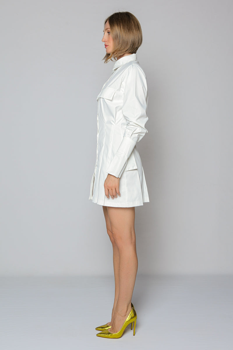 Cool Sleeves Shirt Dress (white)