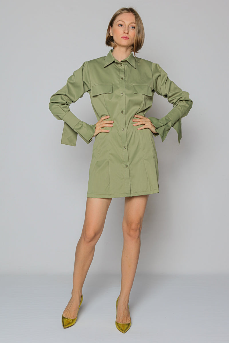 Cool Sleeves Shirt Dress (green)