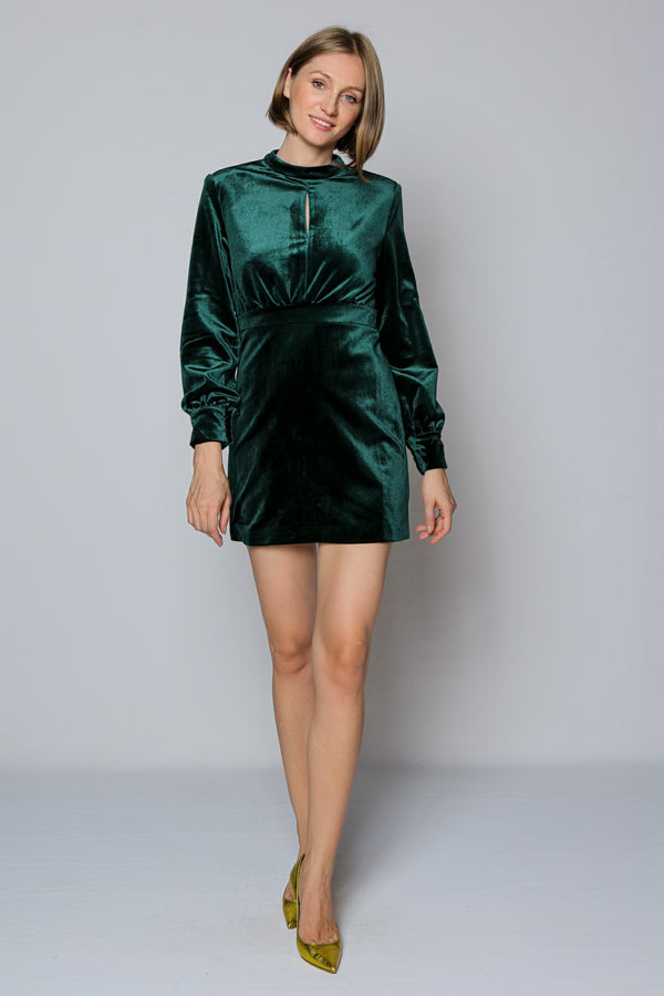 Henrietta Velvet Dress (green)