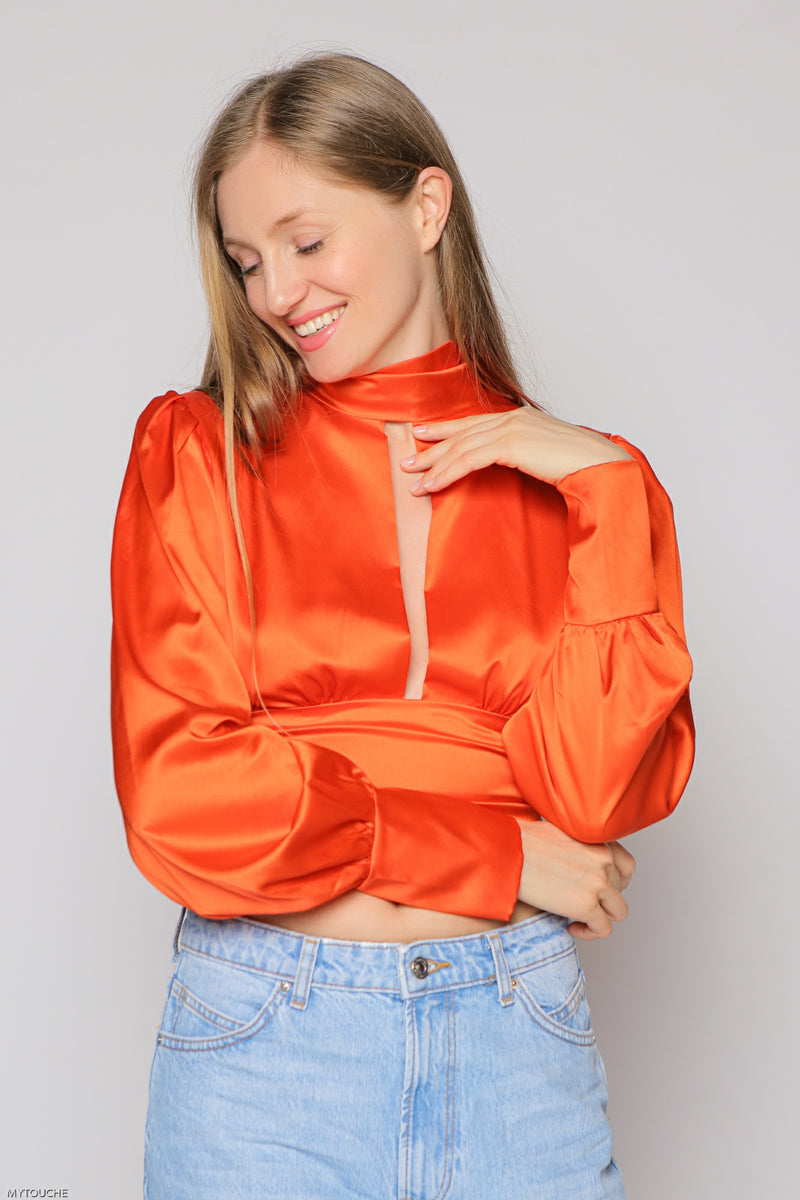 Shiny Tangerine Top