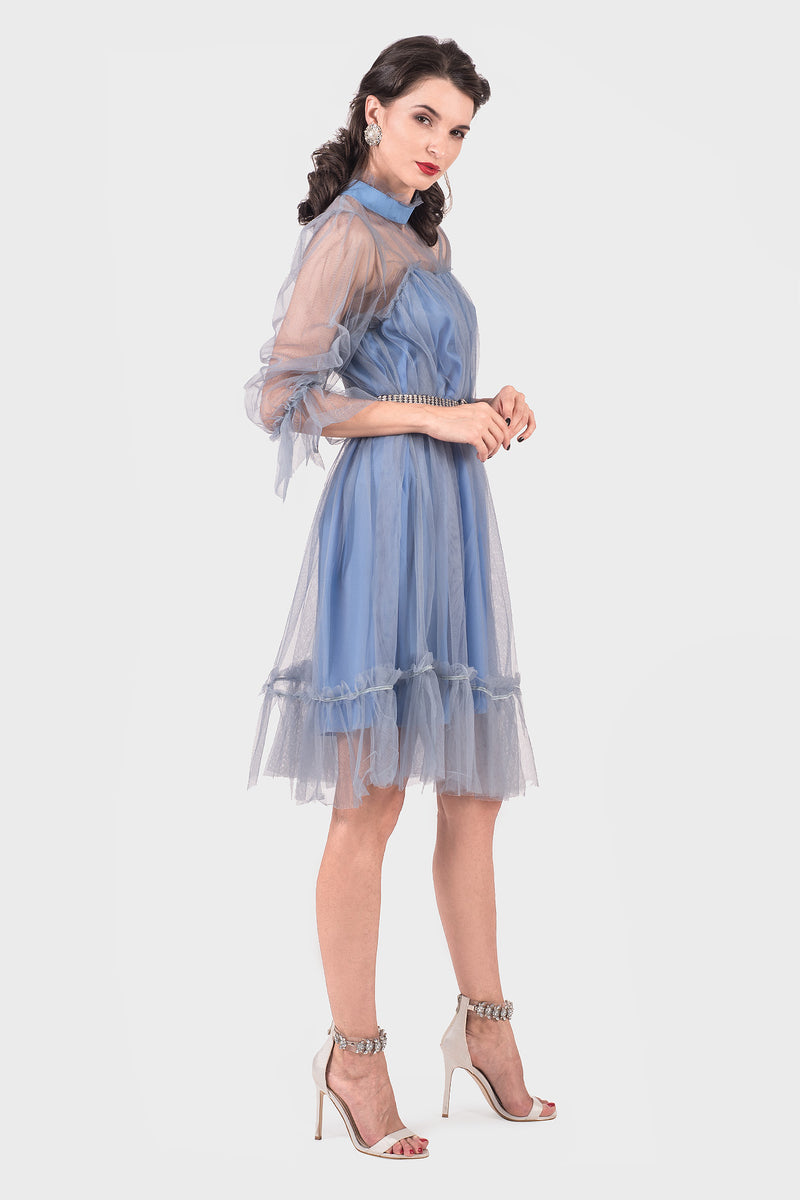 Neck Tulle Midi Dress (blue)