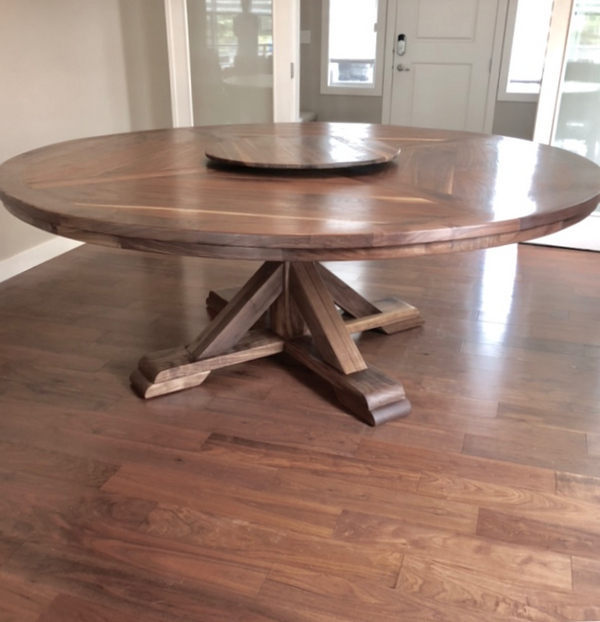 Black Walnut Barcelona Round Dining Table | CUNA Furniture Makers | Custom Furniture