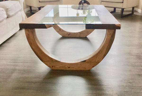 Gades Pine Coffee Table Glass Top | CUNA Furniture Makers
