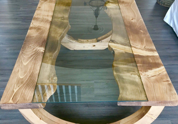 Gades Pine Coffee Table Glass Top | CUNA Mediterranean Concept