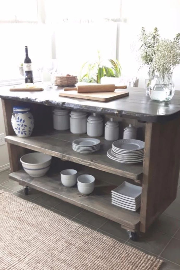 Rustic Wood Kitchen Island With Casters | CUNA Mediterranean Concept
