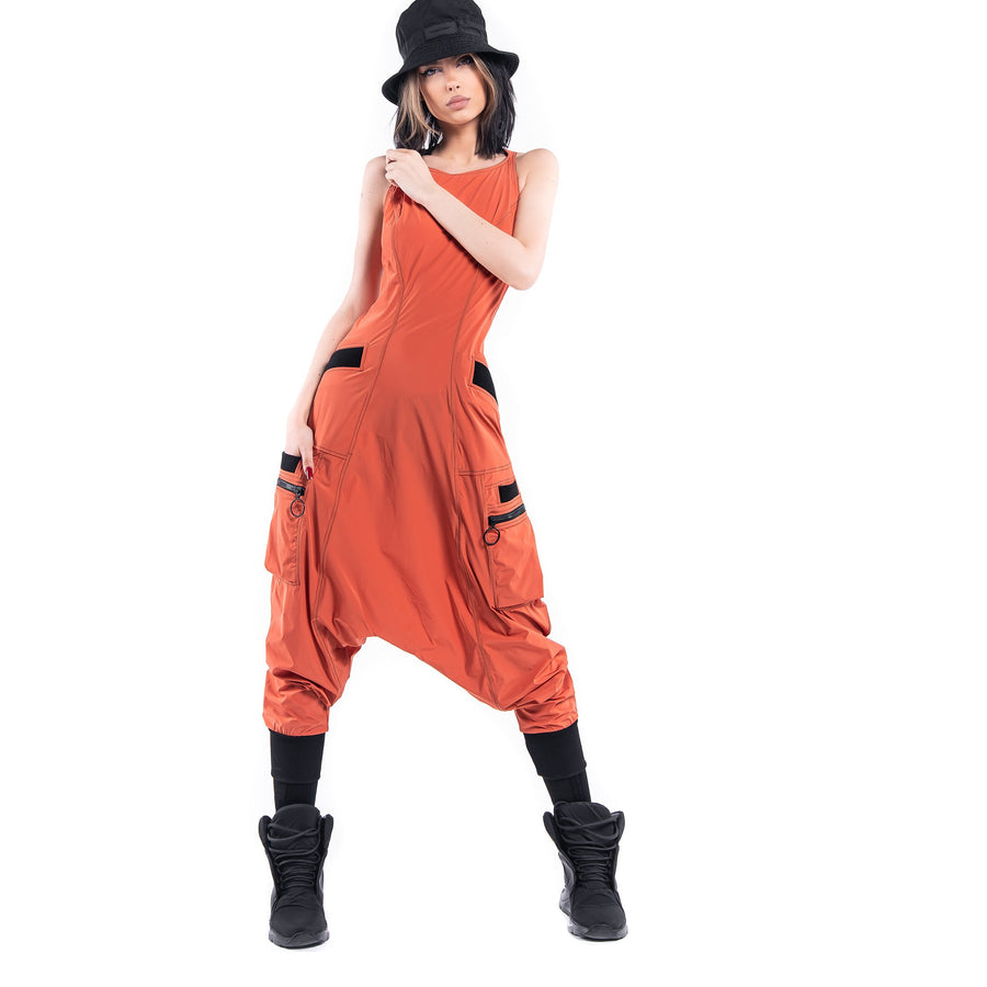ORANGE ZIP DUNGAREES - P21809
