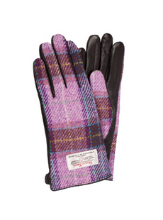 WOMEN'S HARRIS TWEED & BLACK LEATHER GL PINK/LILAC CHECK