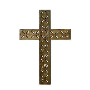 Solid Mango Wood Pierced Cross