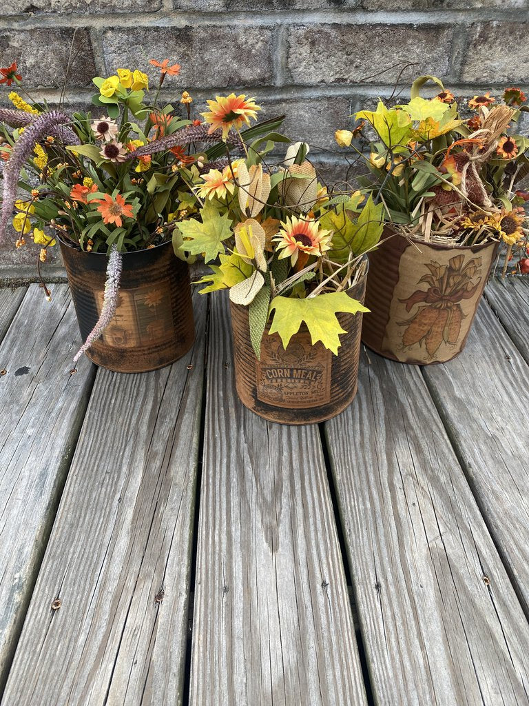 Flowers in a Rustic Tin