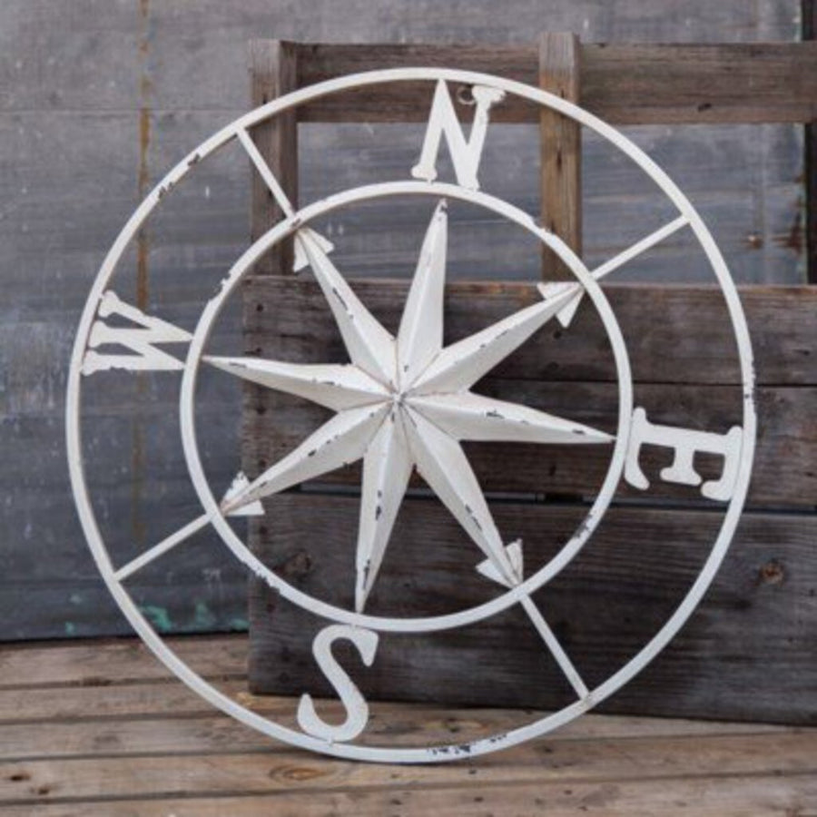 30in White Compass
