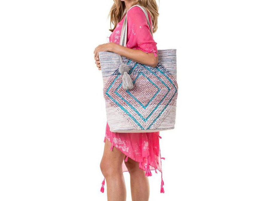 Large Tote w/Diamond Shape Design Pink & Tan