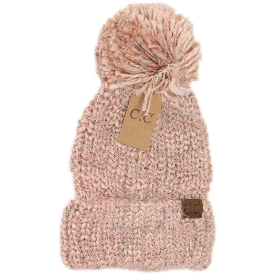 CC Multicolor Feather Yarn Knit Pom Beanie