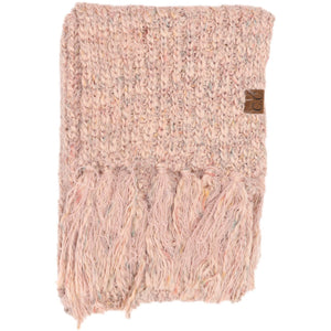 CC Multicolor Feather Yarn Knit Scarf Featuring Fringe Tassels