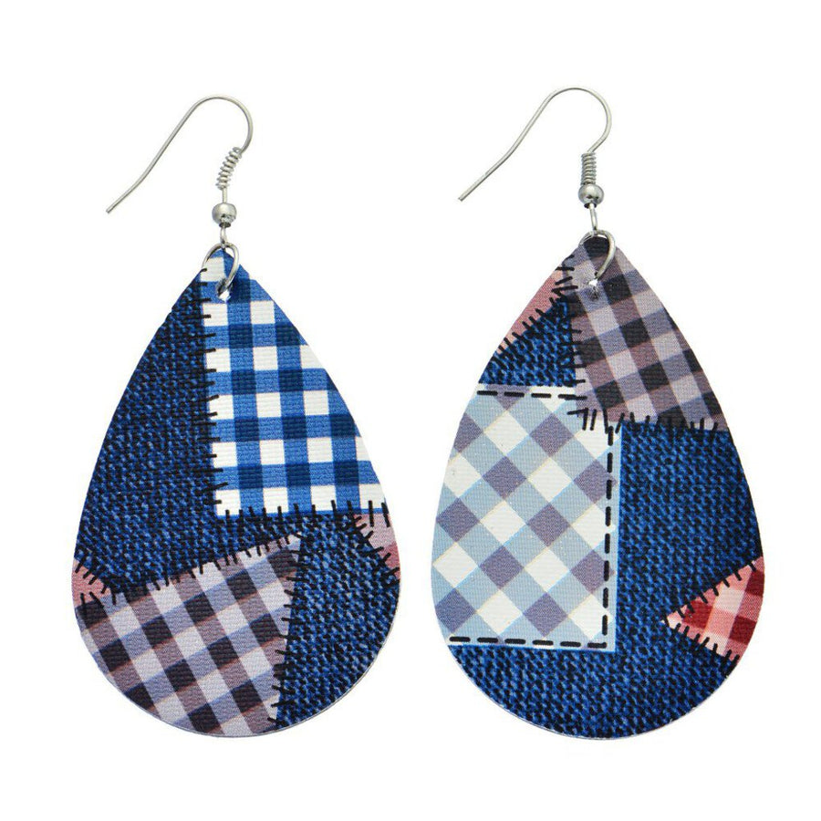 Blue Plaid Path Teardrop Earrings