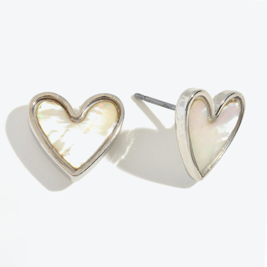Abalone Heart Stud Earrings in Rhodium