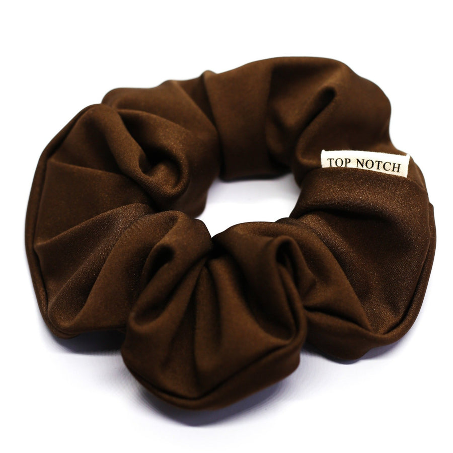 Spice. A Cocoa Brown Nylon Spandex Scrunchie