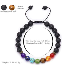 Royale Handmade 7 Chakra Natural Lava Stone  Bracelet - FashionablyRoyale [ Customized, T-Shirts, Apparel]