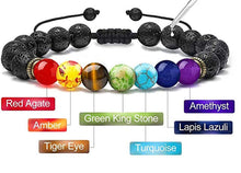 Load image into Gallery viewer, Royale Handmade 7 Chakra Natural Lava Stone  Bracelet - FashionablyRoyale [ Customized, T-Shirts, Apparel]