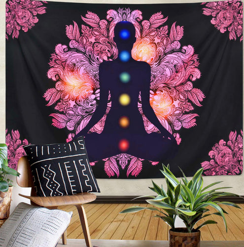 Chakra Tapestry Seven Chakra Tapestry Yoga Meditation Tapestry Zen Tapestry for Room - FashionablyRoyale [ Customized, T-Shirts, Apparel]