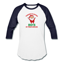 Load image into Gallery viewer, Unisex There's Some Ho's In This House Christmas Naughty  Baseball style T-Shirt - white/navy
