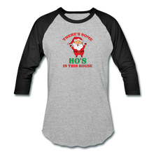 Load image into Gallery viewer, Unisex There's Some Ho's In This House Christmas Naughty  Baseball style T-Shirt - heather gray/black