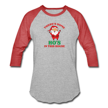 Load image into Gallery viewer, Unisex There's Some Ho's In This House Christmas Naughty  Baseball style T-Shirt - heather gray/red