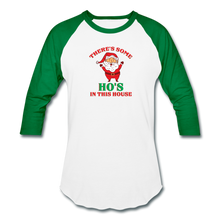 Load image into Gallery viewer, Unisex There's Some Ho's In This House Christmas Naughty  Baseball style T-Shirt - white/kelly green