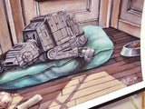 """Imperial Pupper"" Star Wars Parody Art Print by Ashley Raine  Who's a good AT-AT? This boy is, and he's taking a well deserved puppy nap by the window! This Star Wars parody art is perfect for Imperial War Machine lovers and Sith Sympathizers of course, but also for any Star Wars fan who loves their fur-babies!    Details to Enjoy: Pup has a Wookiee toy with a torn-off arm, a bone, a comfy bed, and a well loved BB-8 chewy toy for only the best of good boys."