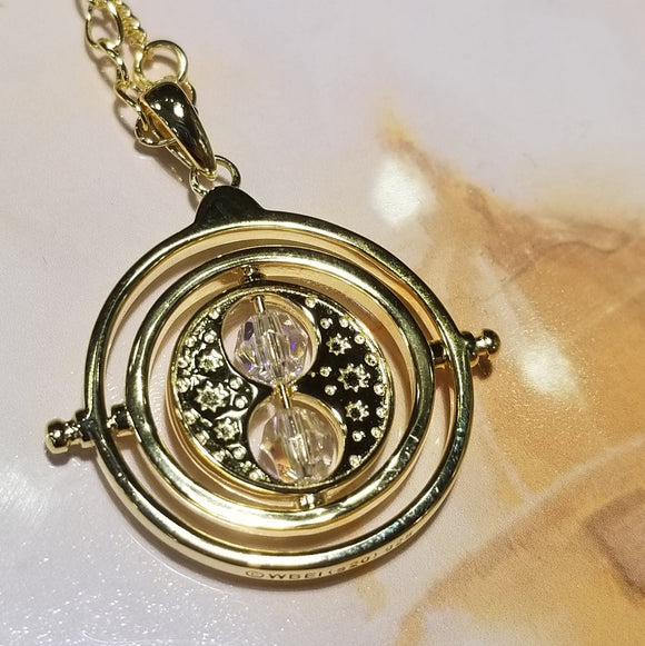 Harry Potter Time Turner Gold Plated Necklace with Swarovski Crystals