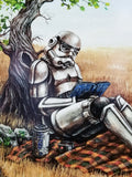 Afternoon in the Park Star Wars Stormtrooper Parody Art Print by Ashley Raine