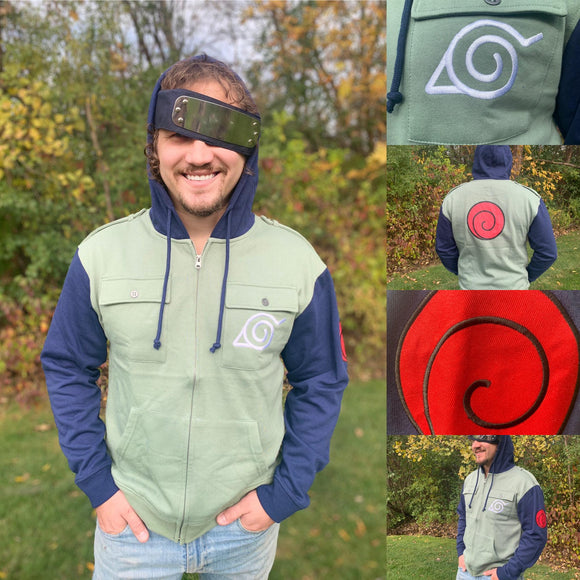 Officially Licensed Naruto Shippuden Military Style Kakashi Hoodie — a cozy zipper sweatshirt with incredible detail work including the Leaf Village emblem and the red swirl Uzumaki Clan Symbol.    Officially Licensed 60/40% Cotton Polyester Machine washable