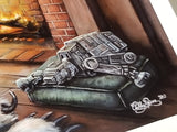 "Boba Fett Art Print ""Relaxing by the Fire"""
